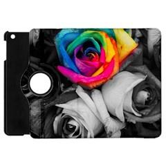 Blach,white Splash Roses Apple Ipad Mini Flip 360 Case by MoreColorsinLife