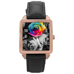 Blach,white Splash Roses Rose Gold Watches by MoreColorsinLife