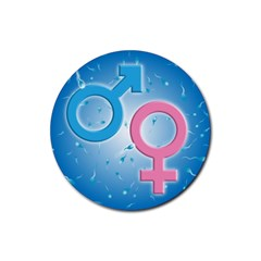 Sperm and Gender Symbols  Rubber Round Coaster (4 pack)  by ScienceGeek