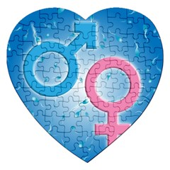 Sperm And Gender Symbols  Jigsaw Puzzle (heart) by ScienceGeek