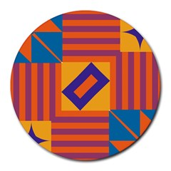 Shapes And Stripes Symmetric Design Round Mousepad by LalyLauraFLM