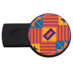 Shapes And Stripes Symmetric Design Usb Flash Drive Round (2 Gb) by LalyLauraFLM