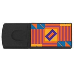 Shapes and stripes symmetric design USB Flash Drive Rectangular (4 GB) by LalyLauraFLM