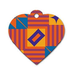 Shapes And Stripes Symmetric Design Dog Tag Heart (one Side) by LalyLauraFLM