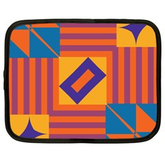Shapes And Stripes Symmetric Design Netbook Case (xl) by LalyLauraFLM