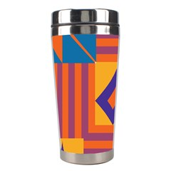 Shapes And Stripes Symmetric Design Stainless Steel Travel Tumbler by LalyLauraFLM