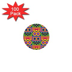 Colorful shapes in rhombus pattern 1  Mini Button (100 pack)  by LalyLauraFLM