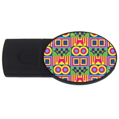 Colorful Shapes In Rhombus Pattern Usb Flash Drive Oval (4 Gb) by LalyLauraFLM