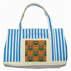 Colorful shapes in rhombus pattern Striped Blue Tote Bag by LalyLauraFLM