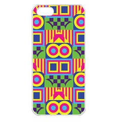 Colorful Shapes In Rhombus Pattern Apple Iphone 5 Seamless Case (white) by LalyLauraFLM