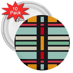 Mirrored Rectangles In Retro Colors 3  Button (10 Pack) by LalyLauraFLM