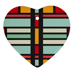 Mirrored Rectangles In Retro Colors Heart Ornament (two Sides) by LalyLauraFLM