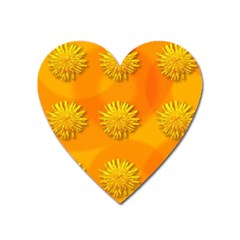 Dandelion Pattern Heart Magnet by theimagezone