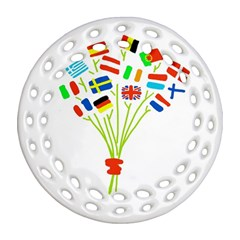 Flag Bouquet Round Filigree Ornament (2side) by theimagezone