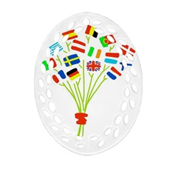 Flag Bouquet Oval Filigree Ornament (2 Side)  by theimagezone