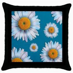 Floating Daisies Throw Pillow Cases (black) by theimagezone