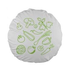 Green Vegetables Standard 15  Premium Flano Round Cushions