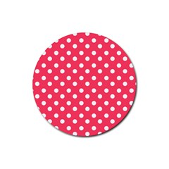 Hot Pink Polka Dots Rubber Round Coaster (4 Pack)  by creativemom