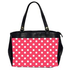 Hot Pink Polka Dots Office Handbags (2 Sides)  by creativemom