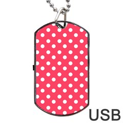 Hot Pink Polka Dots Dog Tag Usb Flash (one Side) by creativemom