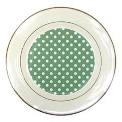 Mint Green Polka Dots Porcelain Plates by creativemom