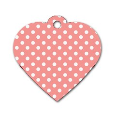 Coral And White Polka Dots Dog Tag Heart (two Sides) by creativemom