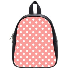Coral And White Polka Dots School Bags (small)  by creativemom