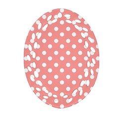 Coral And White Polka Dots Ornament (oval Filigree)  by creativemom