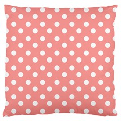 Coral And White Polka Dots Large Cushion Cases (two Sides)  by creativemom