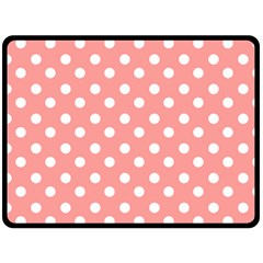 Coral And White Polka Dots Double Sided Fleece Blanket (Large)  by creativemom