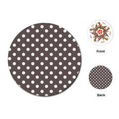 Brown And White Polka Dots Playing Cards (round)  by creativemom