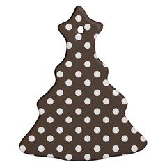 Brown And White Polka Dots Christmas Tree Ornament (2 Sides) by creativemom