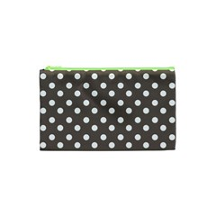 Brown And White Polka Dots Cosmetic Bag (XS) by creativemom