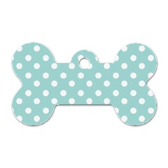 Blue And White Polka Dots Dog Tag Bone (two Sides) by creativemom
