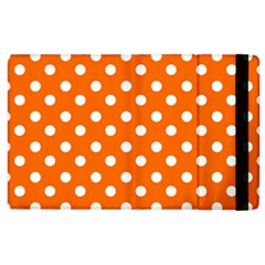 Orange And White Polka Dots Apple Ipad 2 Flip Case by creativemom