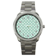 Light Blue And White Polka Dots Sport Metal Watches by creativemom