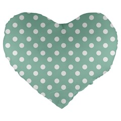 Light Blue And White Polka Dots Large 19  Premium Heart Shape Cushions by creativemom