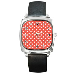 Indian Red Polka Dots Square Metal Watches by creativemom