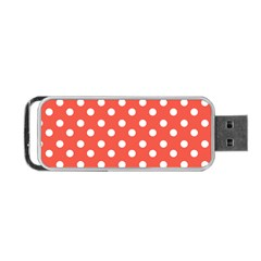 Indian Red Polka Dots Portable Usb Flash (one Side) by creativemom