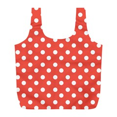 Indian Red Polka Dots Full Print Recycle Bags (l)  by creativemom