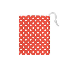 Indian Red Polka Dots Drawstring Pouches (Small)  by creativemom