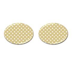 Mint Polka And White Polka Dots Cufflinks (Oval) by creativemom