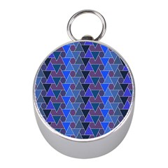 Geo Fun 7 Inky Blue Mini Silver Compasses by MoreColorsinLife
