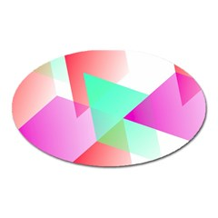 Geometric 03 Pink Oval Magnet by MoreColorsinLife