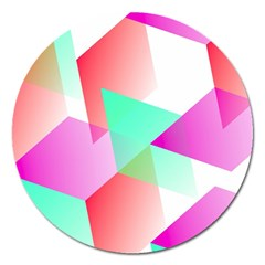 Geometric 03 Pink Magnet 5  (round) by MoreColorsinLife