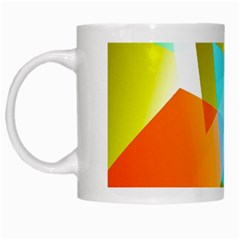 Geometric 03 Orange White Mugs by MoreColorsinLife