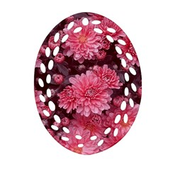 Awesome Flowers Red Oval Filigree Ornament (2 Side)  by MoreColorsinLife