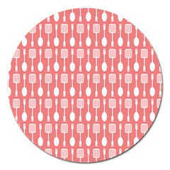 Coral And White Kitchen Utensils Pattern Magnet 5  (round) by creativemom