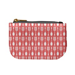 Coral And White Kitchen Utensils Pattern Mini Coin Purses by creativemom