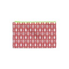 Coral And White Kitchen Utensils Pattern Cosmetic Bag (XS) by creativemom